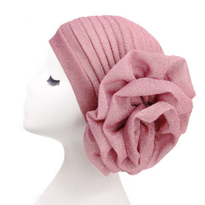 Image 2 - Helisopus 2020 New Bright Headband Turban for Women Muslim India Hat Cap Big Ladiess Women Fashion Hair Accessories