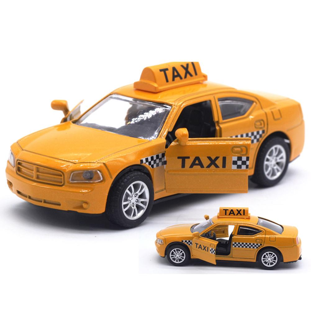 1/32 Diecast Alloy Taxi Pull Back Car Model With LED Sound Kids Education Toy