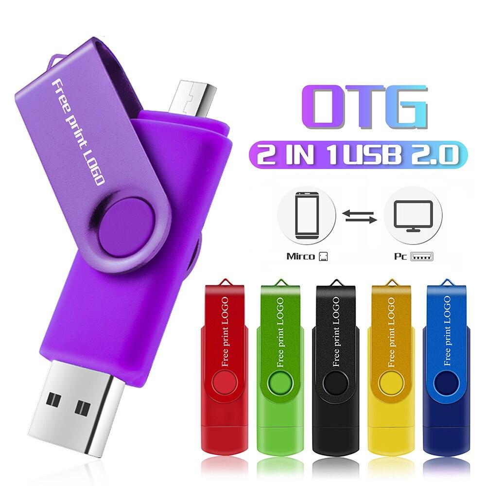 Bút Micro USB Đèn LED 8GB 16GB 64GB 128GB Pendrive OTG Điện Thoại Thông Minh CLE USB 2.0 Bộ Nhớ Flash 32GB Giá Rẻ In Logo title=