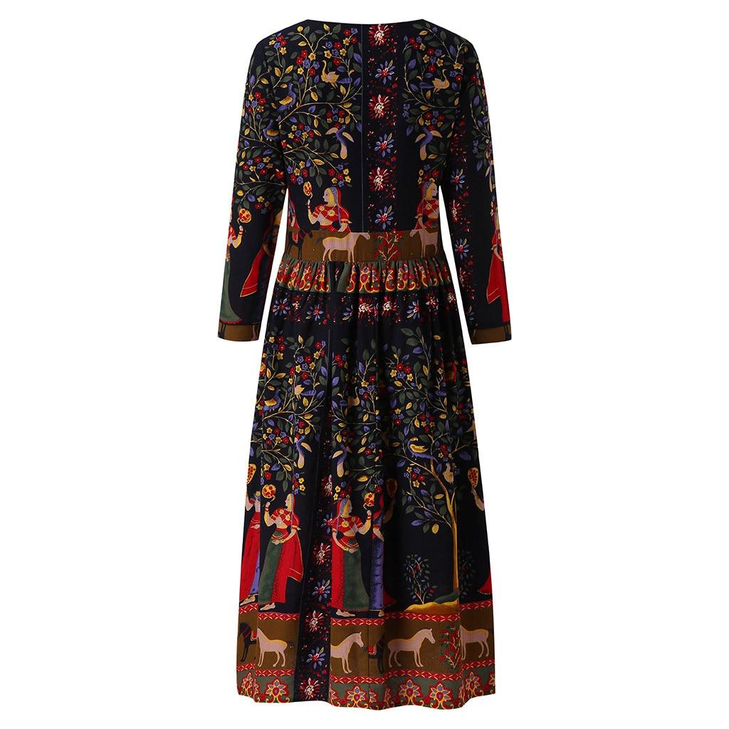 JAYCOSIN Рождество Бохо длинное платье для женщин зимние винтажные платья плюс размер Сращивание Цветочные Печатные Длинные сельские ретро пл...