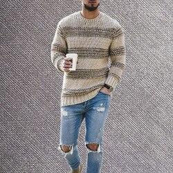 Мужской осенний трикотажный пуловер с круглым вырезом и длинными рукавами в стиле пэчворк, модель 2020