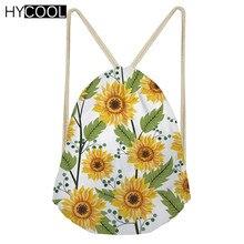 HYCOOL Sunflower Pattern Drawstring Bag For Girls Women Fitness Bag Yoga Bag Teenager Sports Bag Bolso Deportivo Mujer