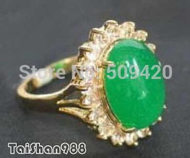 จัดส่งฟรีสีเขียวหยก 18KGP แหวนคริสตัลขนาด: 6.7.8.9