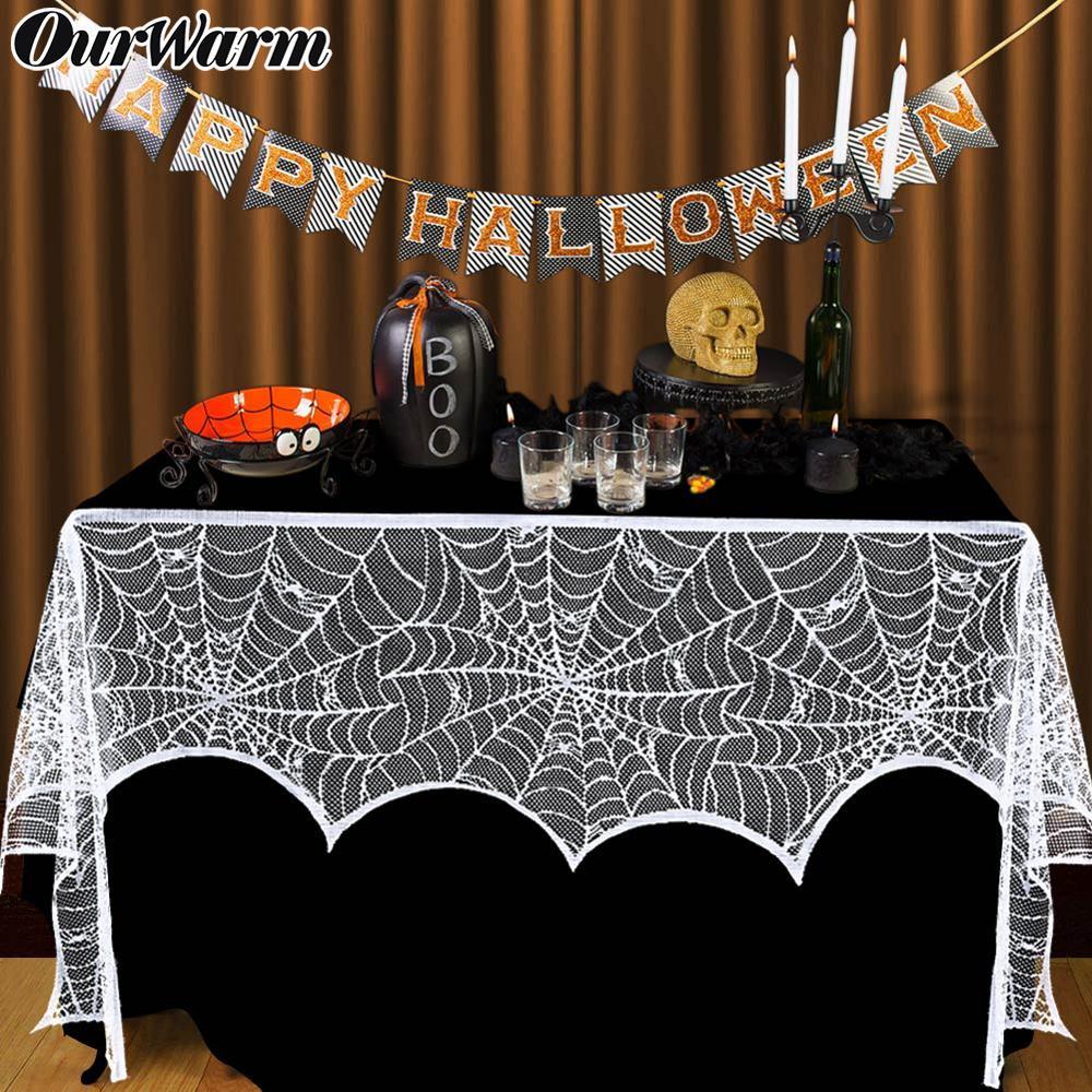 Ourwarm blanc noir Halloween dentelle Spiderweb cheminée manteau écharpe porte fenêtre suspendus horreur accessoires Halloween fête décoration