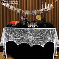 Ourwarm Weiß Schwarz Halloween Spitze Spiderweb Kamin Mantel Schal Tür Fenster Hängen Horror Requisiten Halloween Party Dekoration