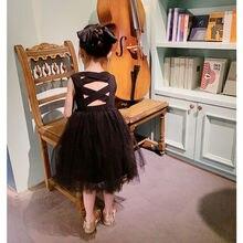 Детское элегантное платье в готическом стиле черное платье без рукавов с юбкой-пачкой, Открытое платье без рукавов с открытой спиной с откр...