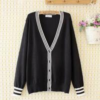 Plus size Striped V neck wool women sweaters 2020 new autumn winter casual ladies gray black Cardigans knitted tops female