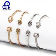 Glück Auge Offen Manschette Armband Armreif Gold Silber Farbe Kupfer Micro Pflastern Zirkon Evil Eye Armreif für Frauen Männer Mode schmuck
