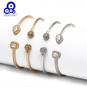 gold silver cuff upper arm bracelet bangle for women Lucky Eye Open Cuff Bracelet Bangle Gold Silver Color Copper Micro Pave Zircon Evil Eye Bangle for Women Men Fashion Jewelry