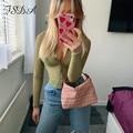FSDA 2021 Mesh Braun Y2K Langarm Crop Top Frauen Tie Dye Drucken Sommer Frühling Grundlegende Sexy Party 90S casual T Shirts Transparent