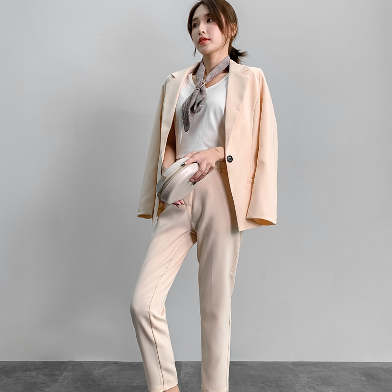 2 Piece Set Women's OL Professional Suit Set One Button Pioneers Dress Women's Fashion Casual Loose Two Piece Set Top And Pants