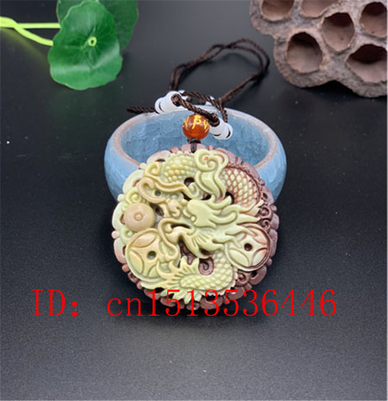Chinese Natural Jade Dragon Pendant Beads Necklace Charm Jewellery Fashion Accessories Hand-Carved Man Lucky Amulet Gifts