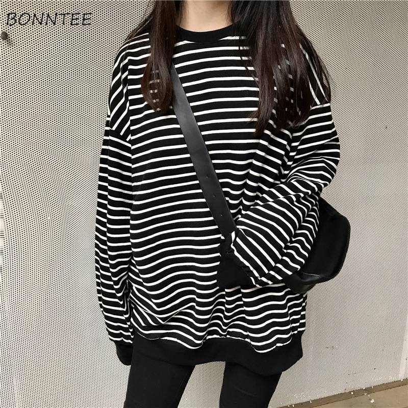 Hoodies Women 2020 Retro Trendy Loose Striped Long Style Leisure Womens Pullover O-neck Full Sleeve Korean Ladies Sweatshirts