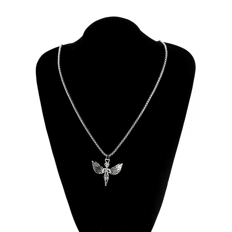 Korean Retro Harajuku Style Hip Hop Angel Wings Pendant Stainless Steel Men Necklace Disco Couple Necklace Jewelry Ornaments