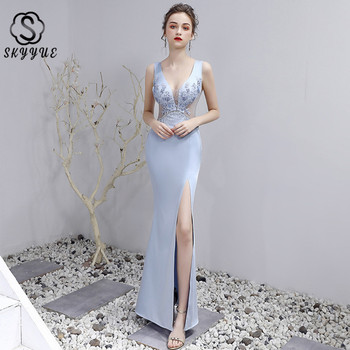 Skyyue Evening Dress 2019 Embroidery Evening Dresses for Women Elegant Floor Length Robe De Soiree V-neck Tank Formal Gown HH096
