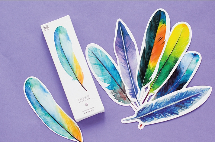 B3- Colorful Feather Diy Paper Bookmark(1pack=30pieces)