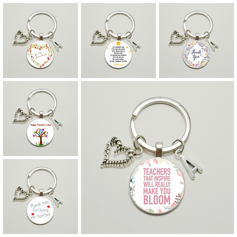 New Hot! Thank You Teacher Text Key Ring A-Z Letter Name Keychain Quality Charter Keychain Jewelry Teacher's Day Gift