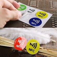6 etiquetas impermeáveis do esparadrapo ntag213 das etiquetas nfc do material do animal de estimação dos pces para todos os telefones