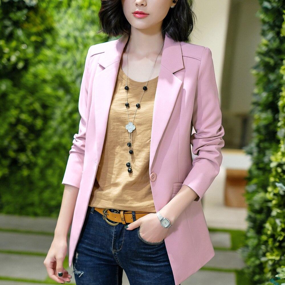 Blazer Feminino Suit Jacket Women Long-sleeved Green Coat Ol Long Solid Color 4XL Large Size White Suit Blazer Mujer YZH809882