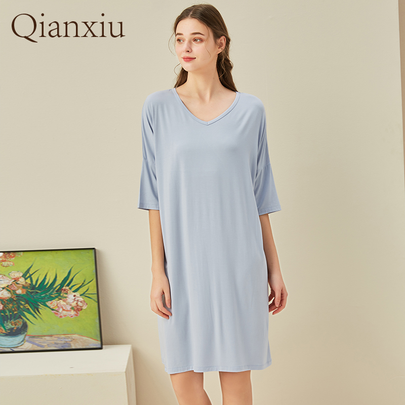 The new summer comfortable soft simple fashion women's home dress comfortable large loose women's nightdress212107