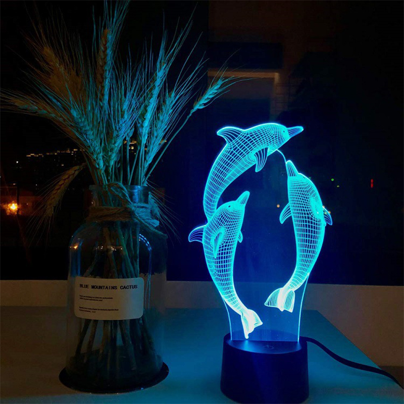 Action Figure 3D RGB Lamp dolphin light Gift Night Light LED 7 Color Night Lamp image