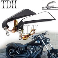Sequential LED Axe Rear View Mirrors Cafe Racer Side Mirror For Harley Dyna Sportster Touring Softail Chopper Shadow Vulcan