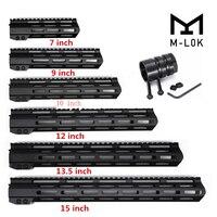 Tactical Slim 7 9 10 12 13.5 15 17 Inch Slim Free Float MLOK M-LOK  AR15 Handguard With Steel Barrel Nut