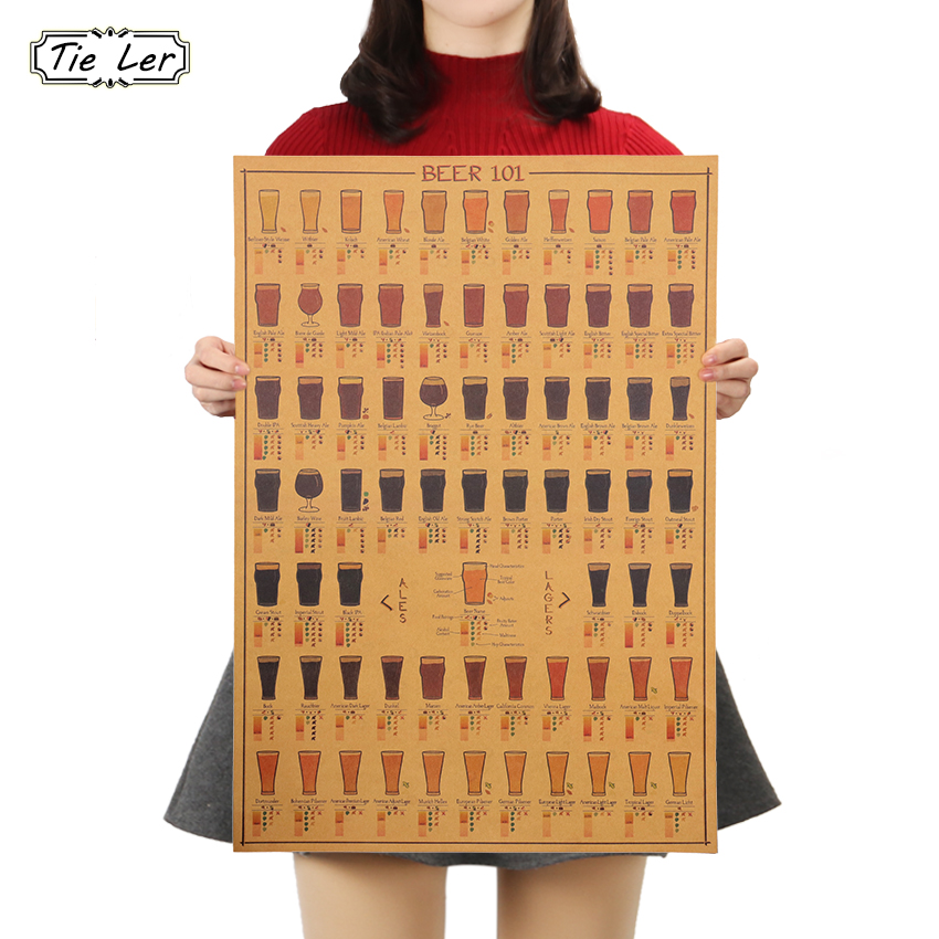 TIE LER New Vintage Kraft Beer Poster Bar Cafe Interior Wall Sticker Wall Decorative Plates Poster 50*35cm