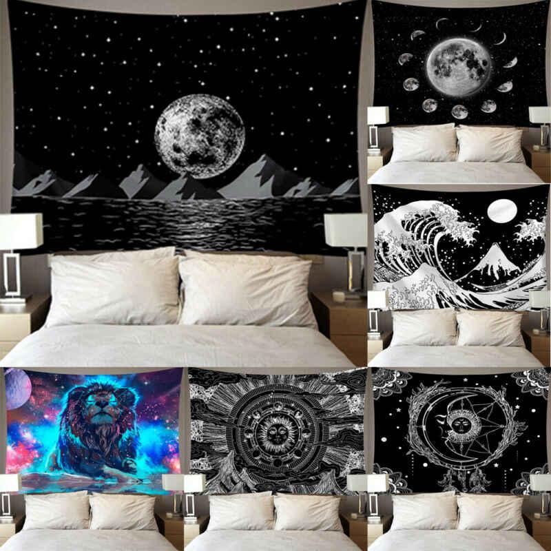 Mandala Square wiszące gobeliny ścienne dywan rzuć joga dywan na dekoracja do domu i do sypialni noc księżyc wykładzina ścienna gobelin