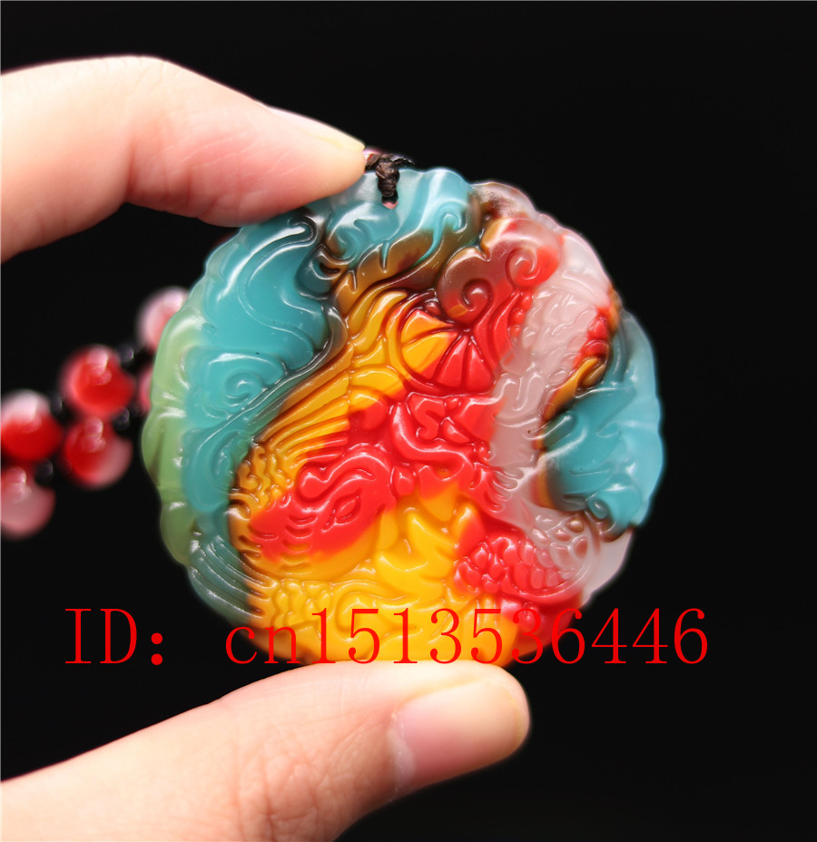 Chinese Colorful Jade Dragon Phoenix  Pendant Necklace Charm Jewellery Fashion Accessories Hand-Carved Man Woman Gifts Amulet