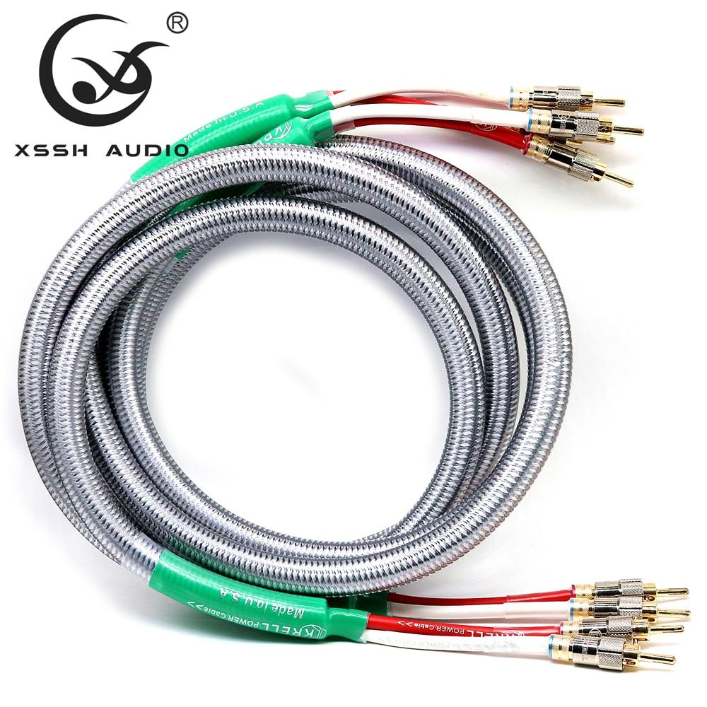 1 paire 2m 2.5m 3m XSSH audio HIFI son bile amplificateur plaqué or banane à banane connecteur prise haut-parleur câble cordon fil