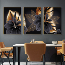 Abstract Luxury Blossom Flower Leaf Canvas Painting Wall Picture for Living Room Plant Wall Art Nordic Black Copper Poster Decor