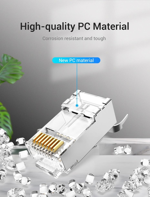 IsMyStore: Vention Cat7 RJ45 Connector Cat7/6/5e STP 8P8C Modular Ethernet Cable Head Plug Gold-plated for Network RJ 45 Crimper Connectors