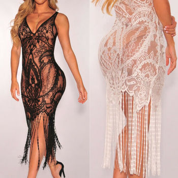 Kobiety długa, maksi sukienki Bikini kostiumy kąpielowe dekolt w szpic Spaghetti pasek kwiecista koronka etniczna letnia suczka Tassel stylowa stylowa sukienka