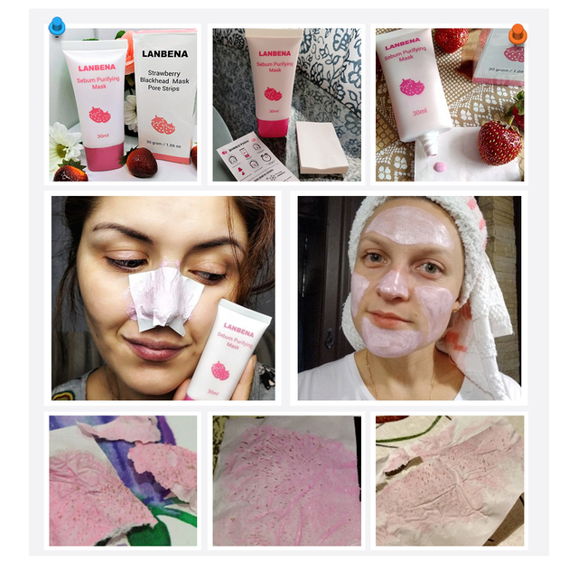 LANBENA Face Mask Strawberry Blackhead Remover Mask Nose Mud Pore Strip Black Mask Peel off Mask Acne Treatment Nose Skin Care 5