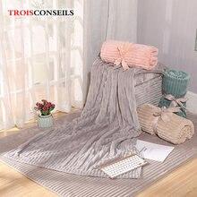 Мягкое теплое одеяло из кораллового флиса зимнее полосатые плюшевые