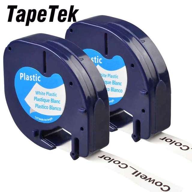 2 uyumlu Dymo LetraTag 91201 siyah beyaz (12mm x 4m) plastik etiket bantları için LT 100H, LT 100T, LT 110T, QX 50, XR, XM,