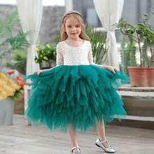 สาวชุดลูกไม้ดอกไม้Tulle Tiered Maxiชุดเจ้าหญิงยาวสำหรับงานแต่งงานเด็กเสื้อผ้า 1 10Y E17104