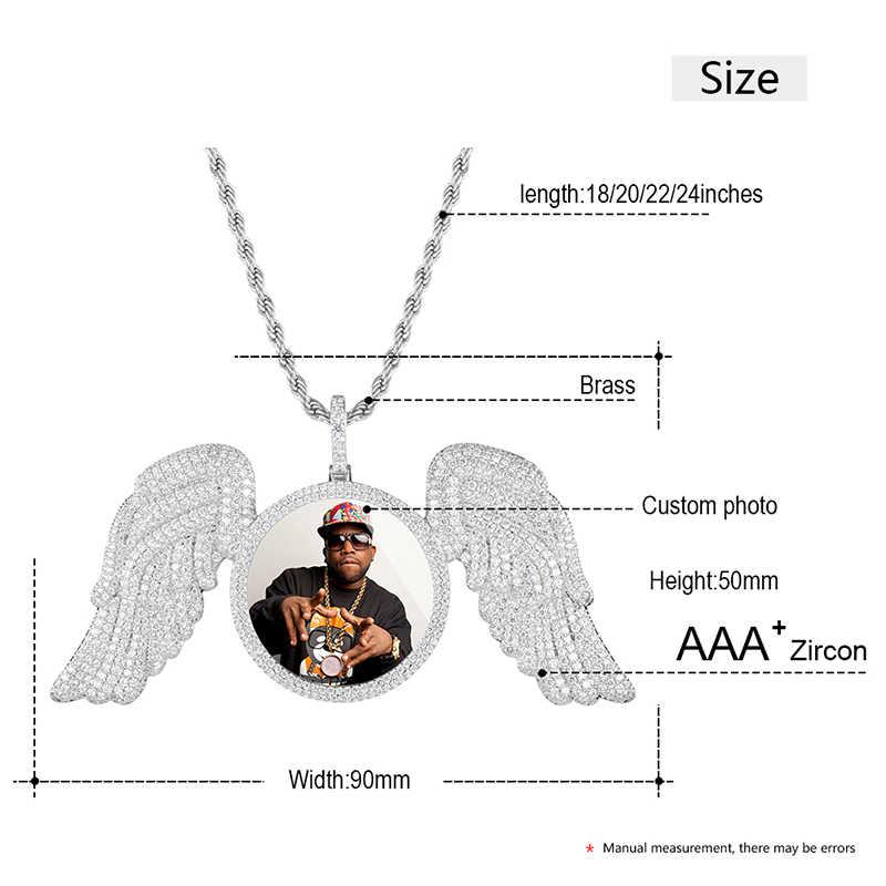 Nouveau pendentif en or Rose sur mesure Photo ange aile médaillons collier avec AAA cubique Zircon hommes Hip hop bijoux chaîne de Tennis