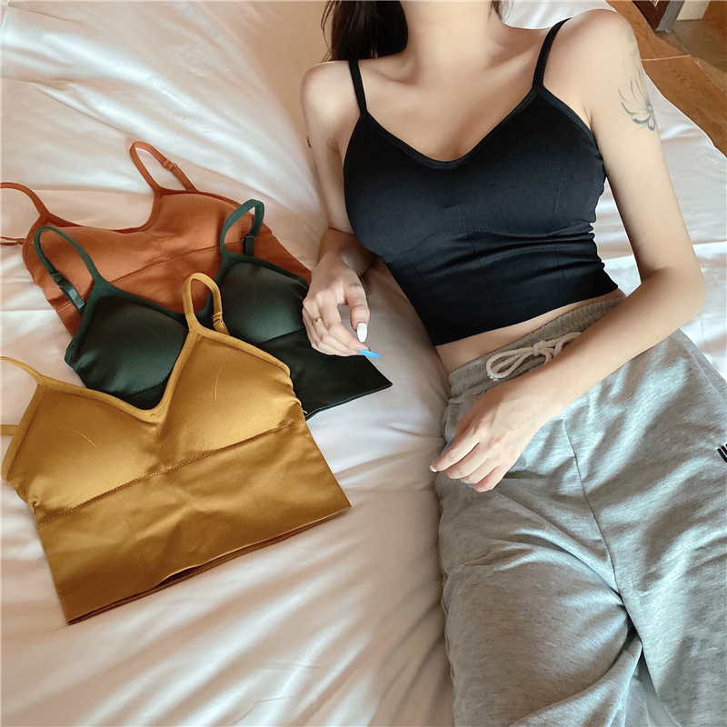 Girls Short Camis Tops With Seperated Bra Women Padding Tanks U-back Crop Tops For Female GR1932