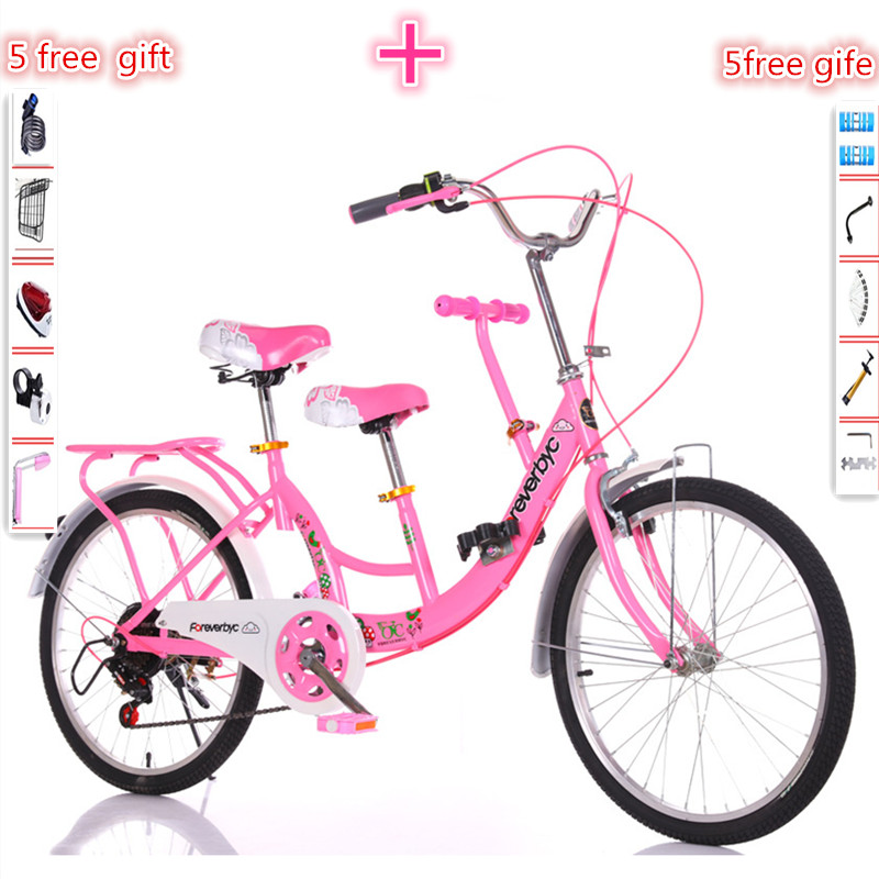 touring wagon travel bike parent-child bicycle mother-child bicycle double men's and women's shuttle bicycle with travel bike image