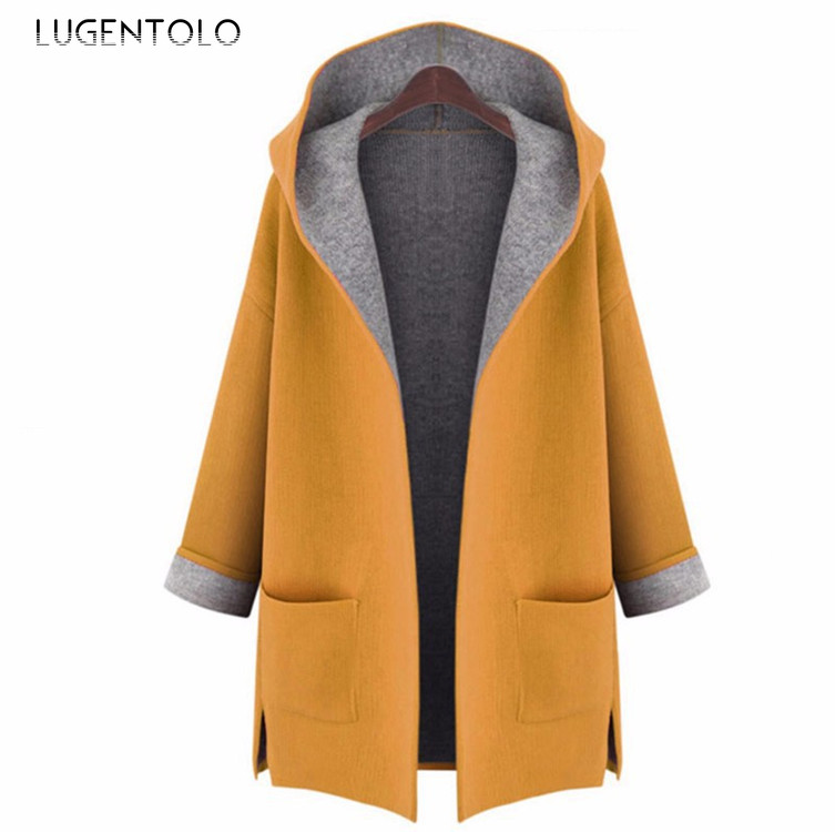 Lugentolo Women's Windbreaker New Extra Large Loose Ultra-thin Stitching Large Size Hooded Cardigan Wool Windbreaker Fat MM