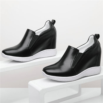 2020 Vulcanized Shoes Women Genuine Leather Wedges High Heel Fashion Sneakers Female Round Toe Platform Pumps Shoes Casual Shoes