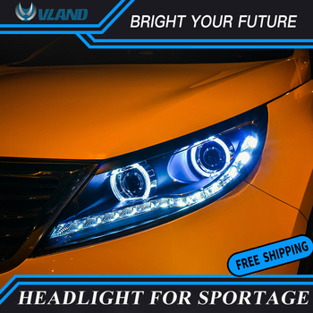 Car Front Lamp For KIA Sportage R LED Headlights 2011-2014 Angel Eyes Lights LED DRL Bi-xenon Projector Lamps