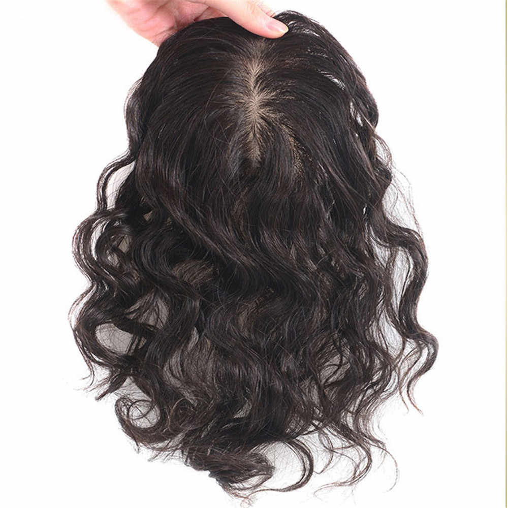 BYMC Peruvain שיער טבעי פאה עבור נשים 7*10 תחרה עם משי בסיס החלפת מערכת Loose גל עם קליפים כיסוי לבן שיער