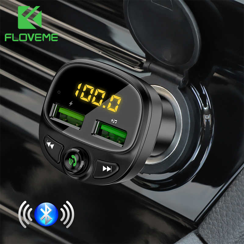 FLOVEME Bluetooth Car Phone Charger For Phone Car USB Charger FM Transmitter MP3 Player TF Card Music HandFree Car Phone Charger