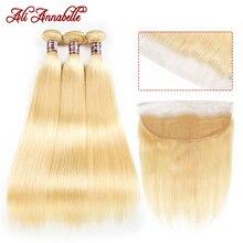 Али Аннабель 613 блонд пряди с фронтальной бразильской прямой пряди с закрытием светлые человеческие волосы 613 пряди с фронтальной