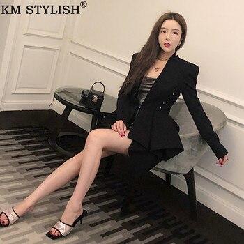 Blazer En Dentelle Noire | Haute Couture 2019 Automne Nouvelle élégante Femme Blazer Mode Belle Perlée à Lacets Découpe Slim Noir Dames Bazer Veste Femme