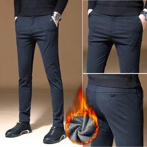 Image 5 - 2010 new Mens Winter thick Fleece Fluff Pants men Korean Casual Slacks Slim Warm Pants for men Black Navy blue Trousers male
