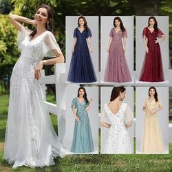 Tulle Prom Dress Long Ever Pretty EP00734 Elegant A-Line V-Neck Ruffles Sleeve Sequined Formal Party Gowns 2020 Vestido De Festa
